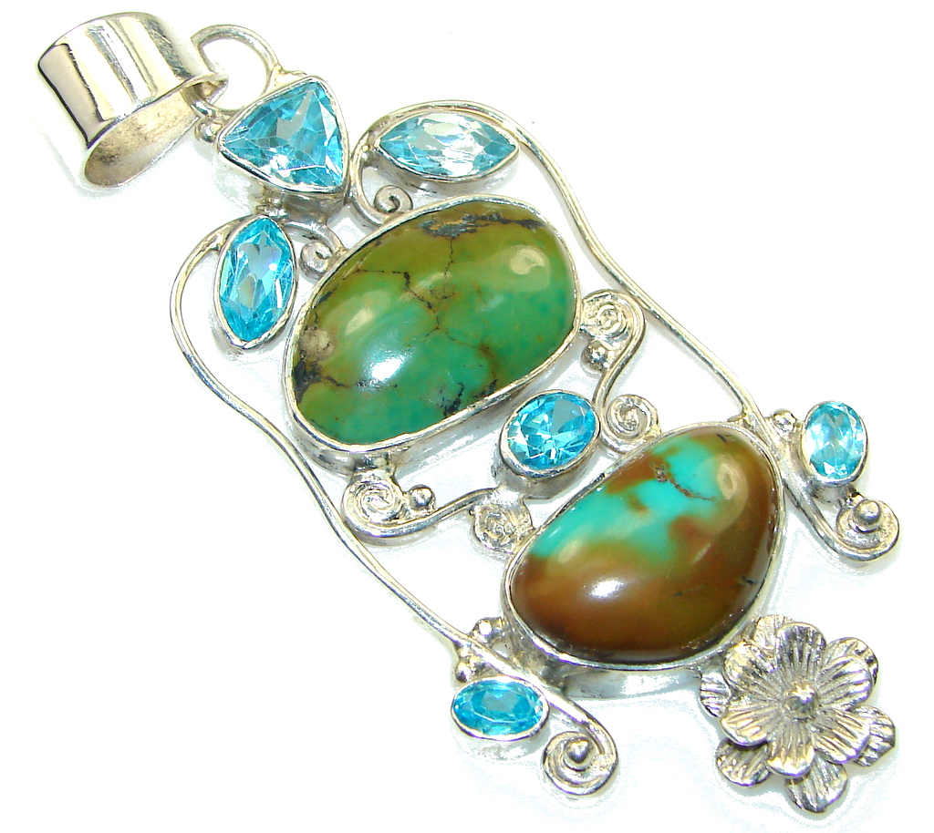 Big! Corico Lake Turquoise Sterling Silver Pendant