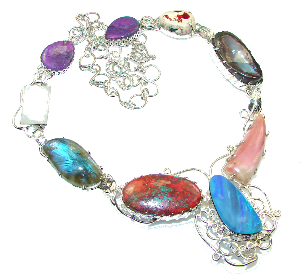 Image of Pure In Heart!! Multistone Sterling Silver necklace