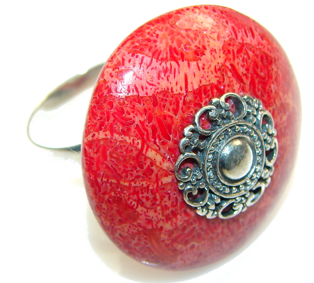 Love Power! Red Fossilized Coral Sterling Silver Ring s. 9 - Adjustable