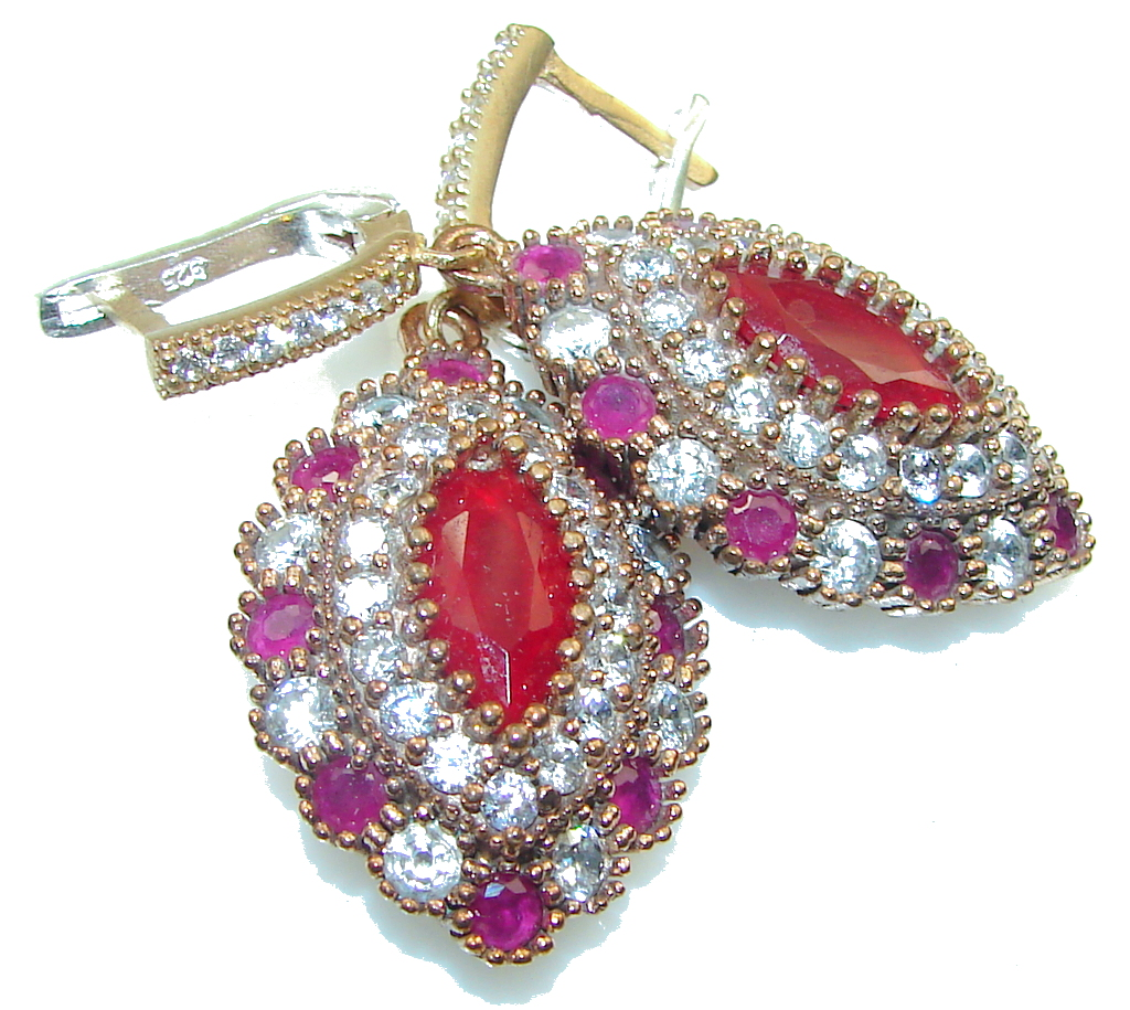 Make A Wish! Red Ruby Sterling Silver earrings