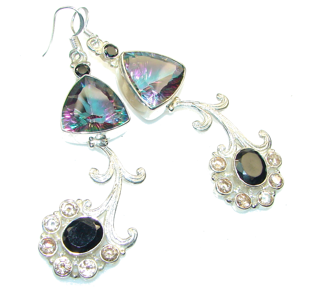 Pale Beauty!! Magic Topaz & Hematite & Citrine Sterling Silver earrings / Long