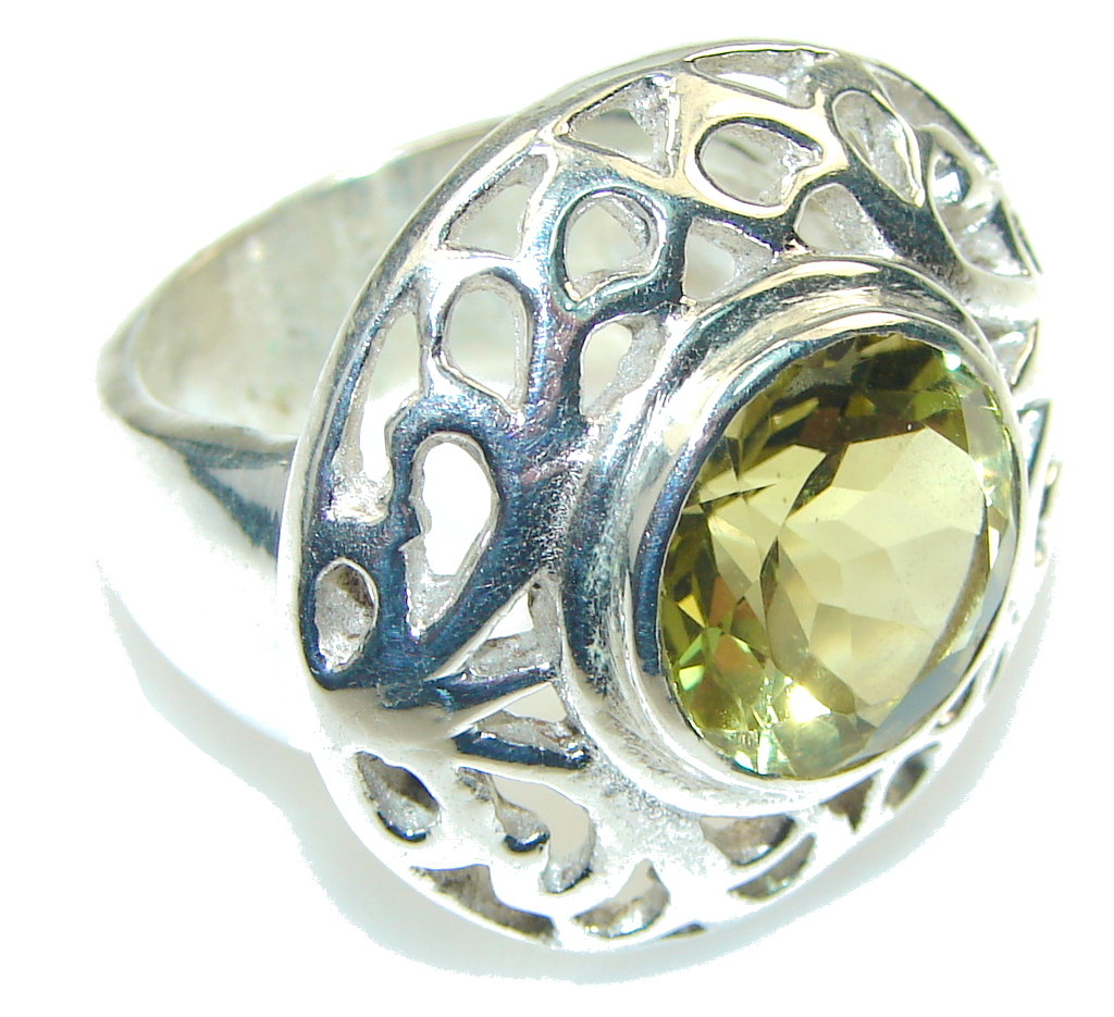 Big!! Chennai Sun! Yellow Citrine Quartz Sterling Silver Ring s. 7