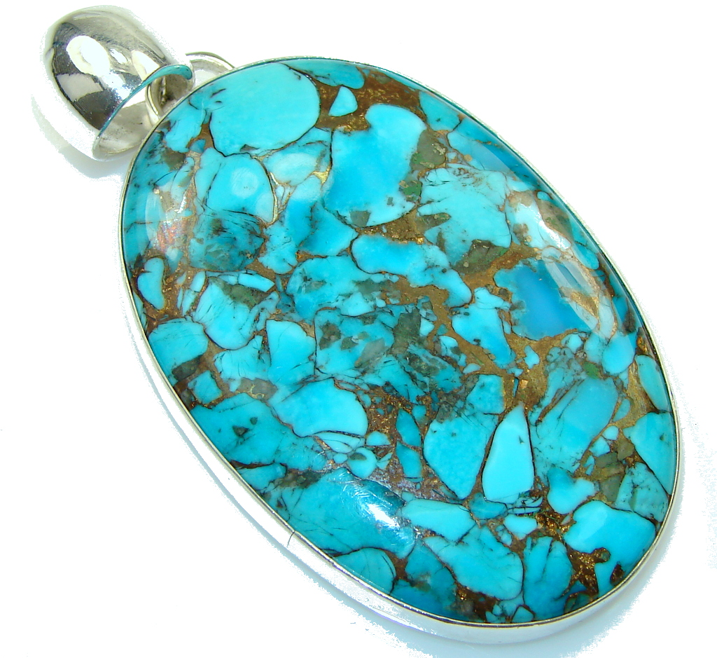 Big! Natural Blue Copper Turquoise Sterling Silver Pendant