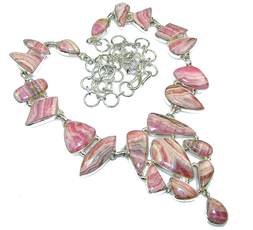 Path Of Life! Argentinian Rhodochrosite Sterling Silver necklace