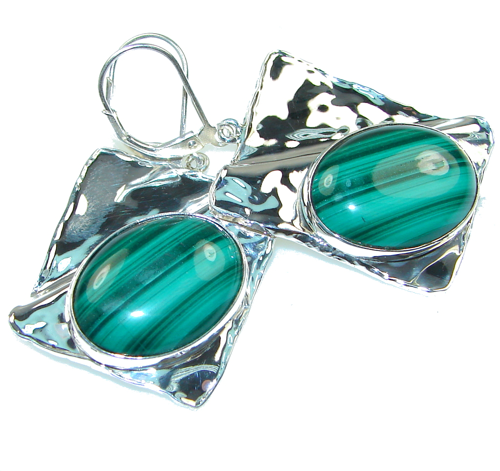 AAA Green Malachite Hammered Sterling Silver earrings