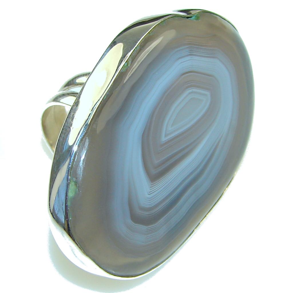 Huge Ocean Botswana Agate Sterling Silver Ring s. 8