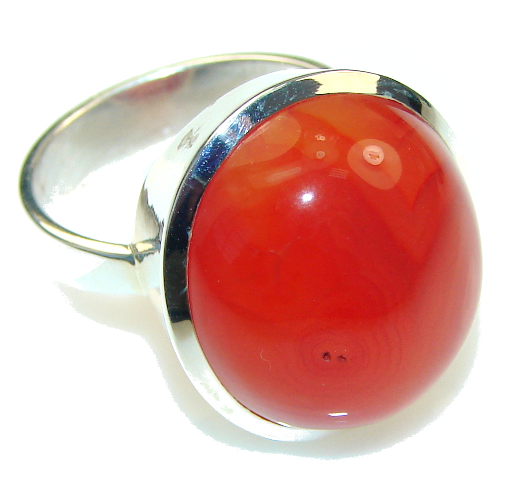Big! Excellent Brown Carnelian Sterling Silver ring s. 8 1/4