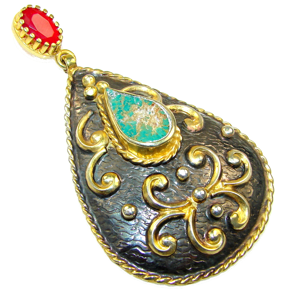 Large! Italy Made Green Turquoise, Gold Plated, Rhodium Plated Sterling Silver Pendant