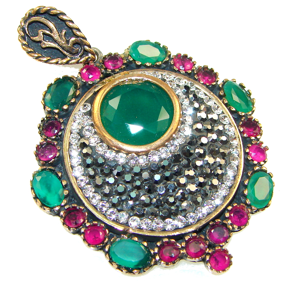 Turkish Style! Green Emerald Sterling Silver Pendant