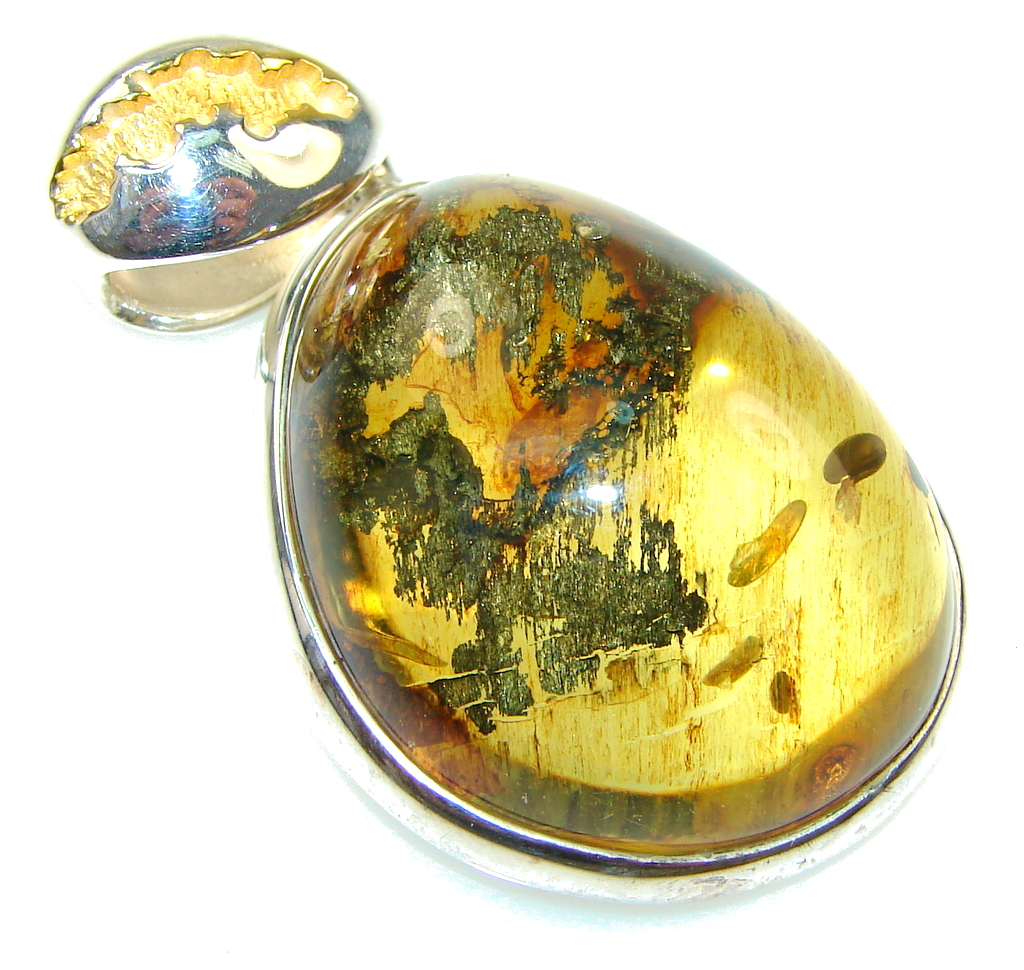 Secret Style Polish Amber, Gold Plated Sterling Silver Pendant