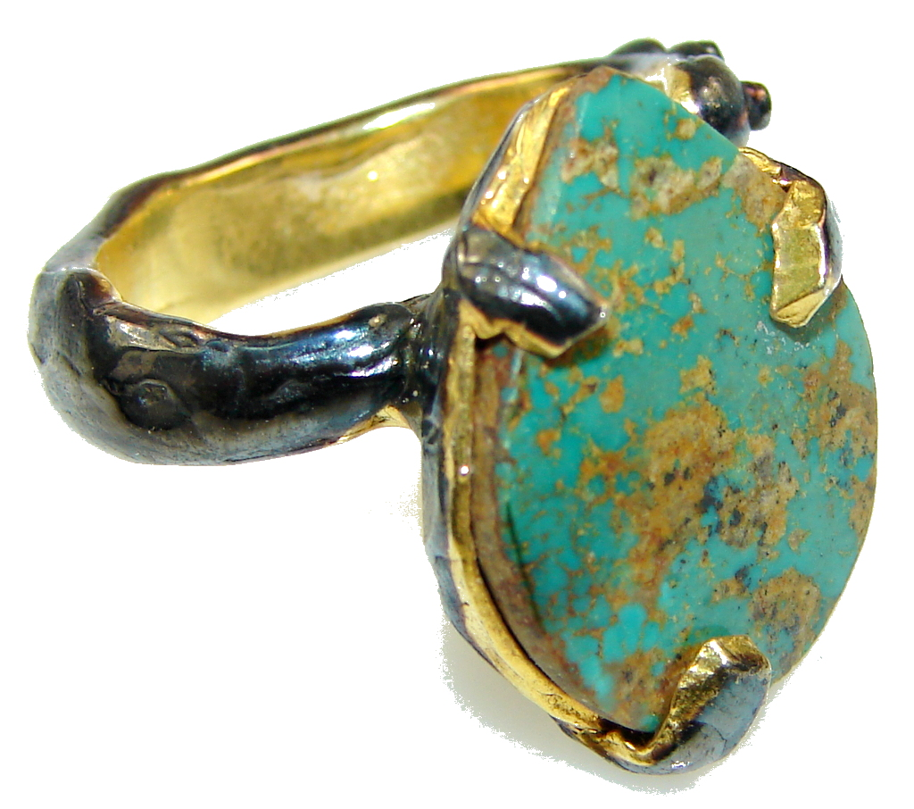 Italy Made Green Copper Turquoise, Rhodium Plated, Gold Plated Sterling Silver Ring s. 6
