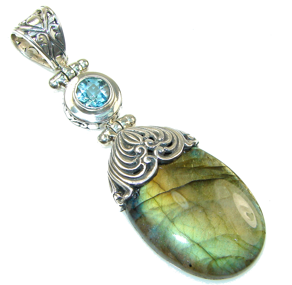 Big! Bali Collection Labradorite, Blue Topaz Sterling Silver Pendant