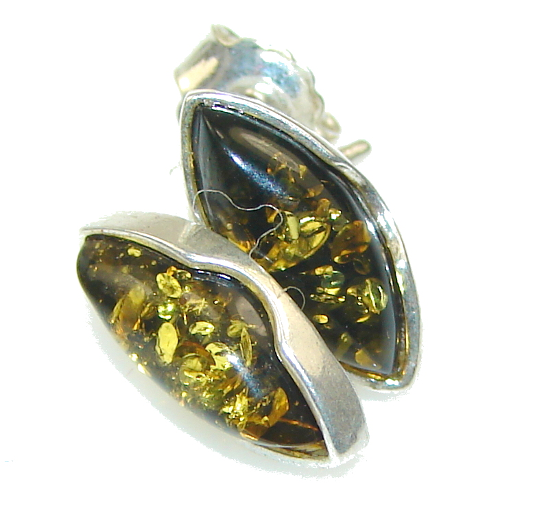 Image of Basics! Green Polish Amber Sterling Silver earrings