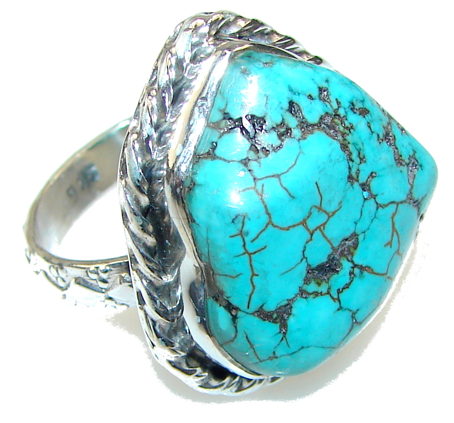 Classy Blue Turquoise Sterling Silver Ring s. 8 1/4