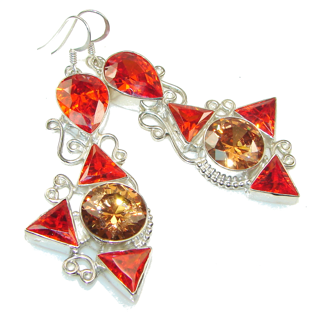 Big! Spark Of Life!! Golden Topaz Quartz, Garnet Quartz Sterling Silver earrings