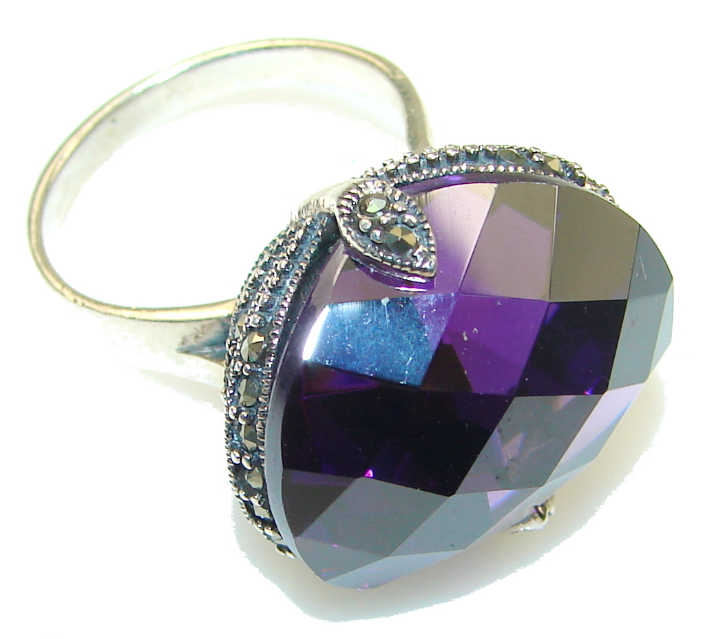marcassite.com Beautiful!! Created Alexandrite Quartz Sterling Silver Ring s. 8