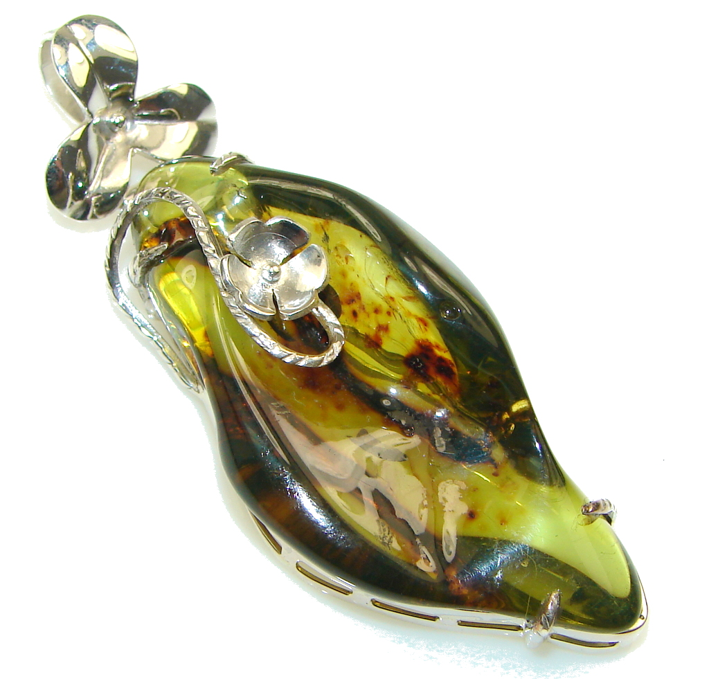 Big! Classic Natural Green Amber Sterling Silver Pendant