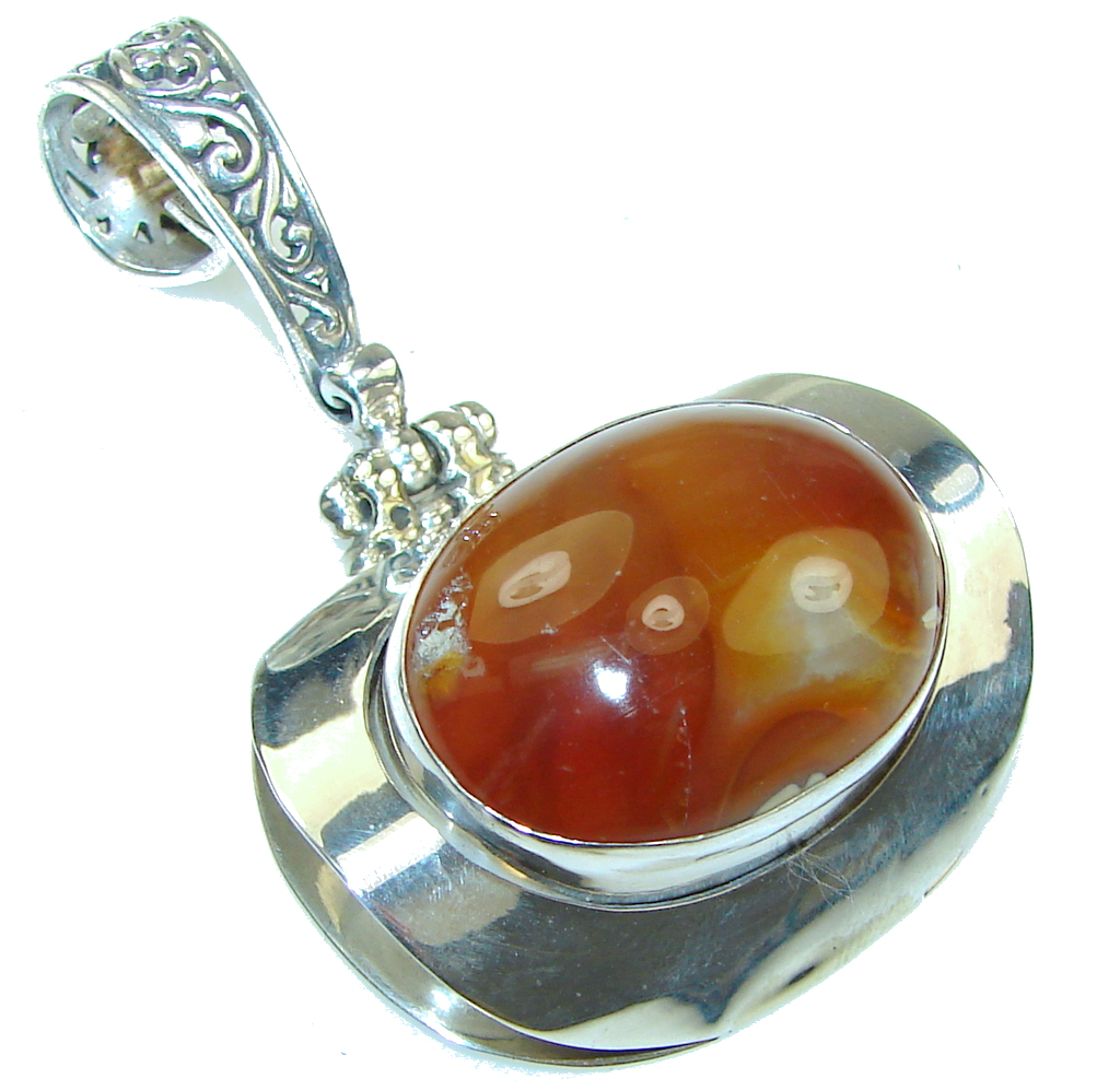 Stunning New Design! Brown Agate Sterling Silver Pendant