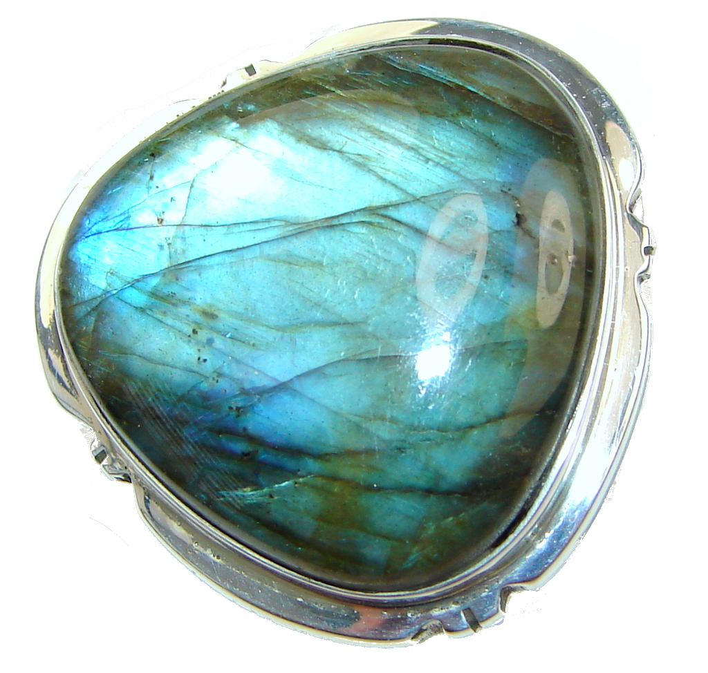Big! River Secret! Blue Labradorite Sterling Silver Ring s. 7 1/4