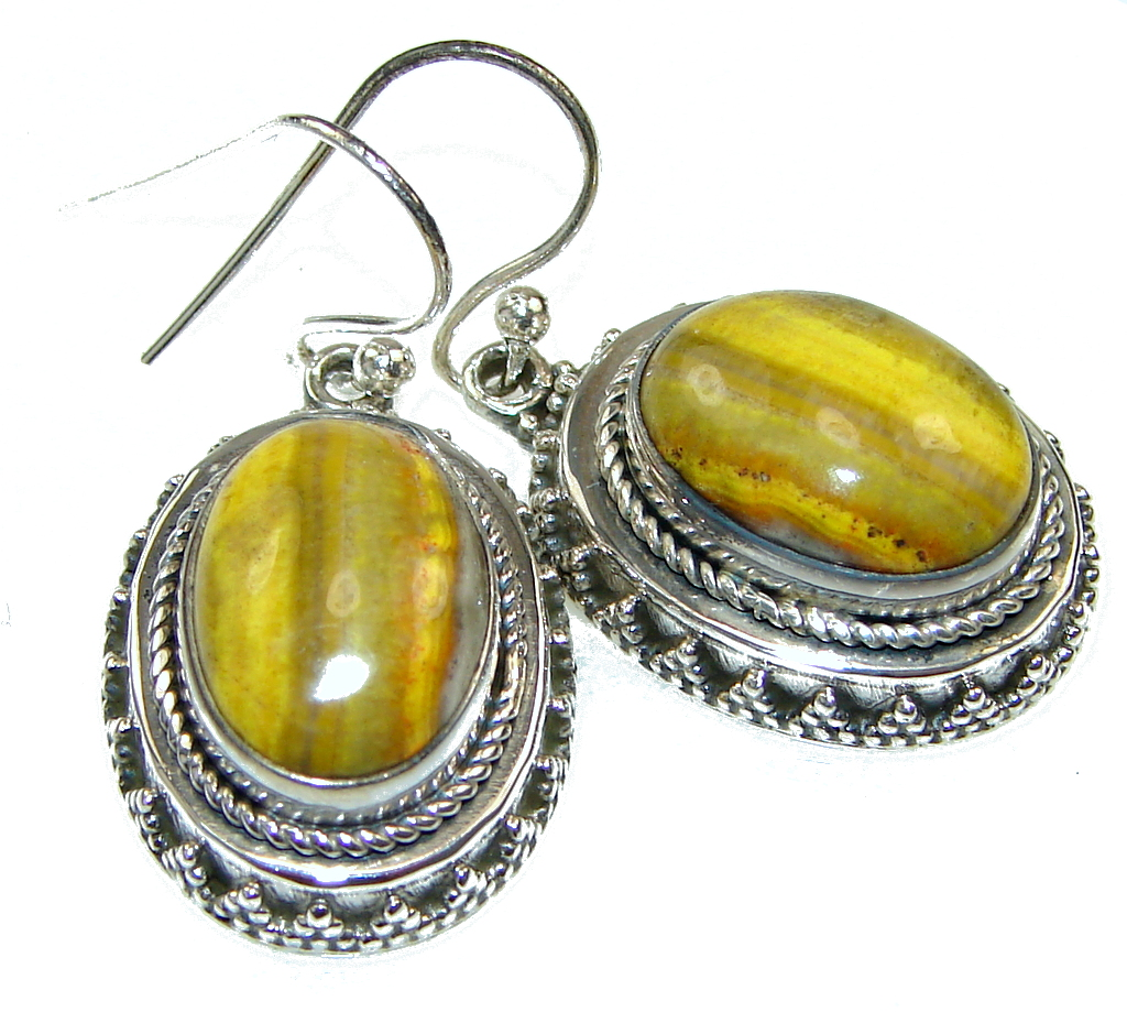 Amazing! Yellow Bumble Bee Jasper Sterling Silver earrings
