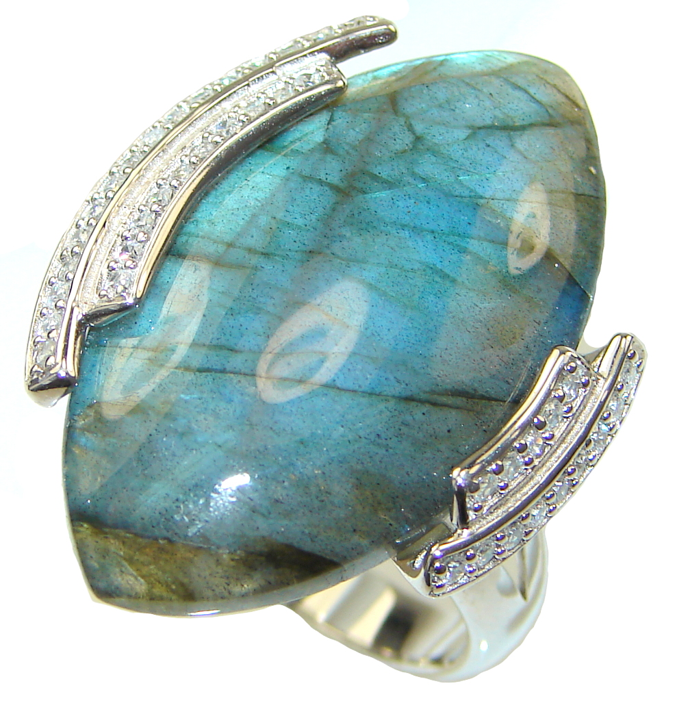 Exclusive!! Blue Labradorite Sterling Silver ring s. 11 1/4
