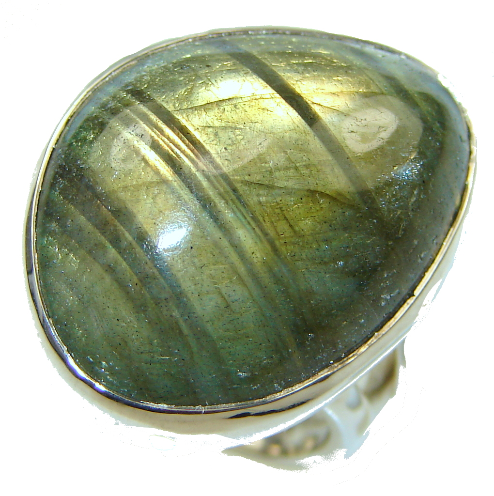 Green Island!! Labradorite Sterling Silver Ring s. 7 - Adjustable