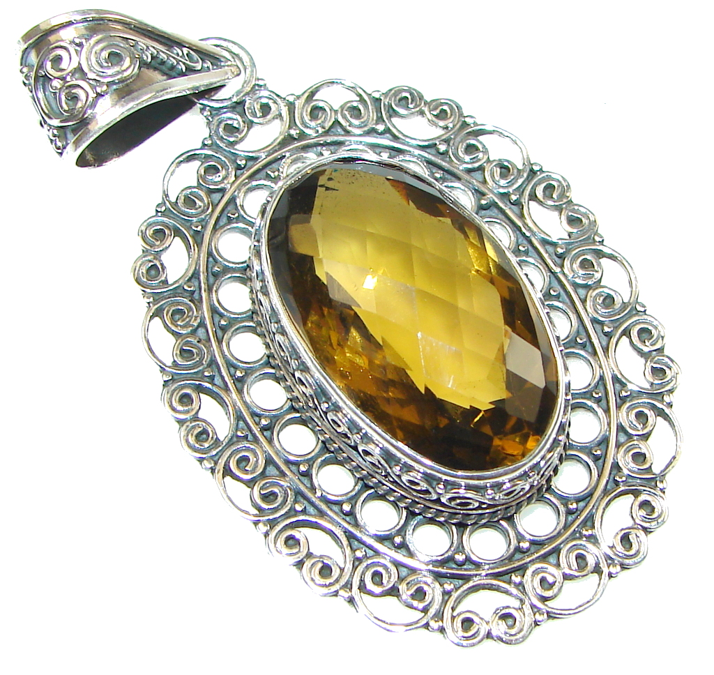 Amazing! Yellow Citrine Quartz Sterling Silver Pendant