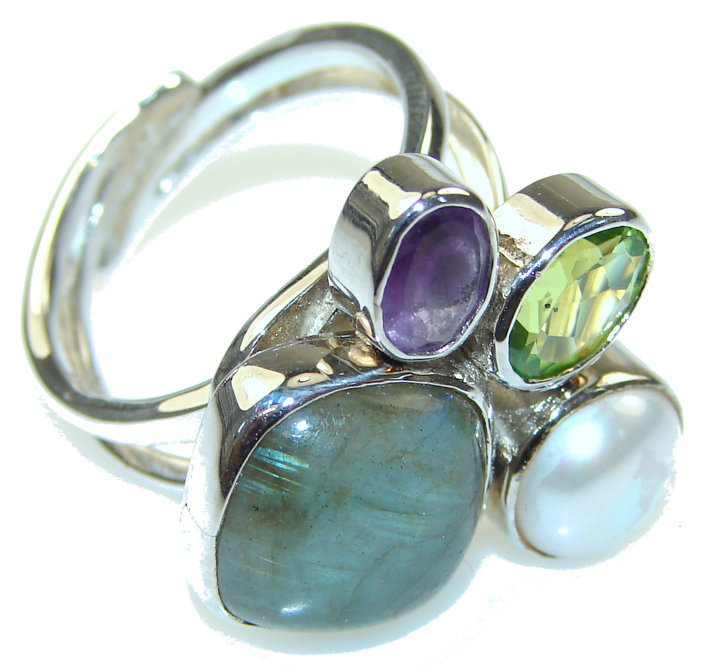 Pale Beauty Labradorite Sterling Silver ring s. 9- Adjustable