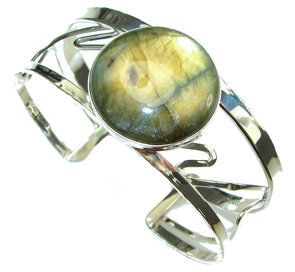 Bohemian Style Labradorite Hammered Sterling Silver Bracelet / Cuff