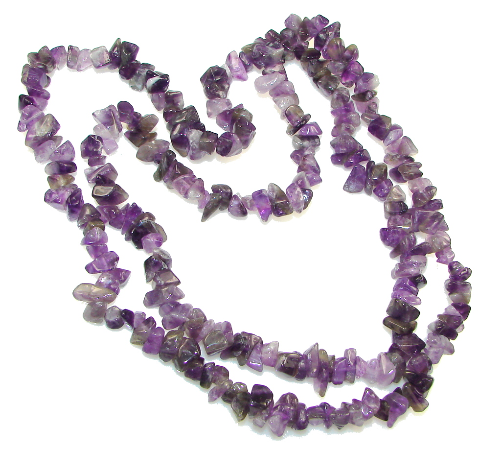 Natural Beauty! 32 Inch Purple Natural Purple and Lavender Amethyst Necklace