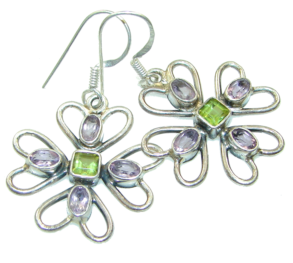 Precious! Green Peridot Sterling Silver earrings