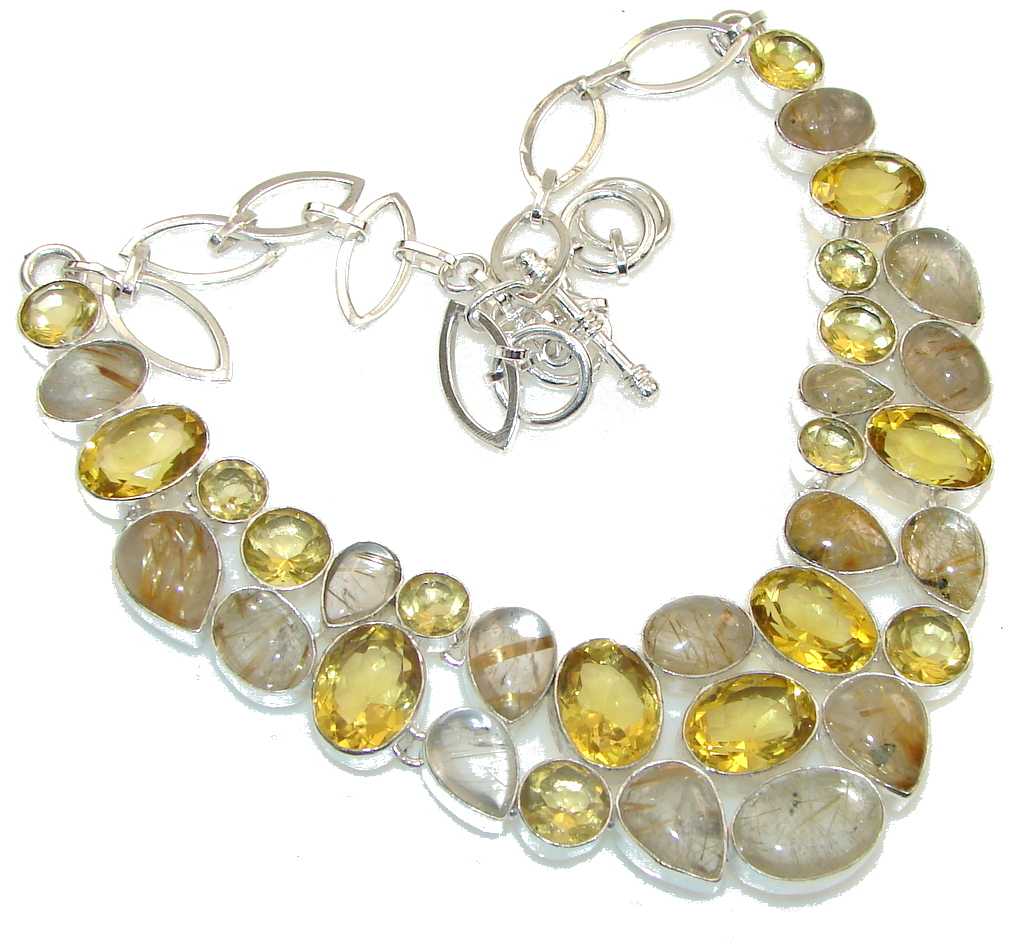 Fancy Quality!! Golden Rutilated Quartz Sterling Silver necklace