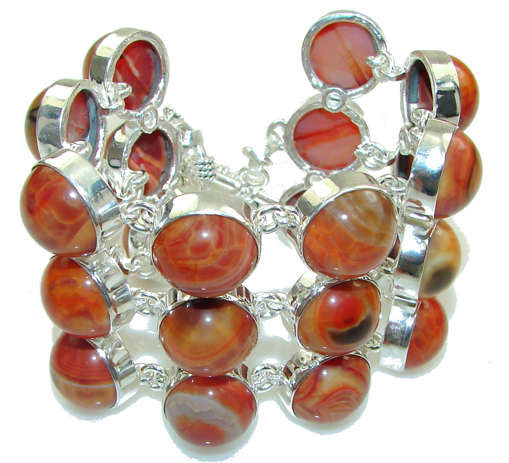Large! Fabulous Design! Mexican Fire Agate Sterling Silver Bracelet