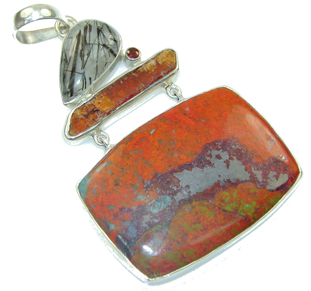 Big! Excellent! Red Sonora Jasper Sterling Silver Pendant