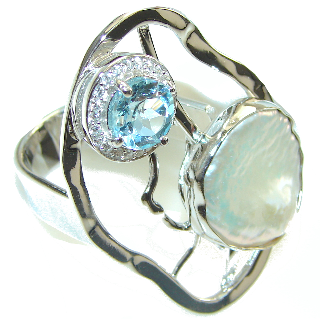 Genuine Blue Topaz, White Topaz Sterling Silver Ring s. 7 - Adjustable