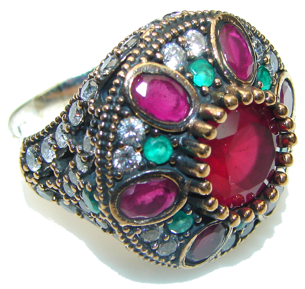 Marvelous Victorian Red Ruby Sterling Silver Ring s. 9 1/4