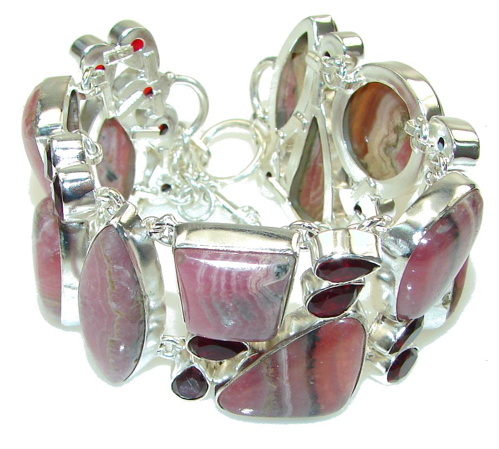 Chunky Pink Rhodochrosite, Red Garnet Sterling Silver Bracelet