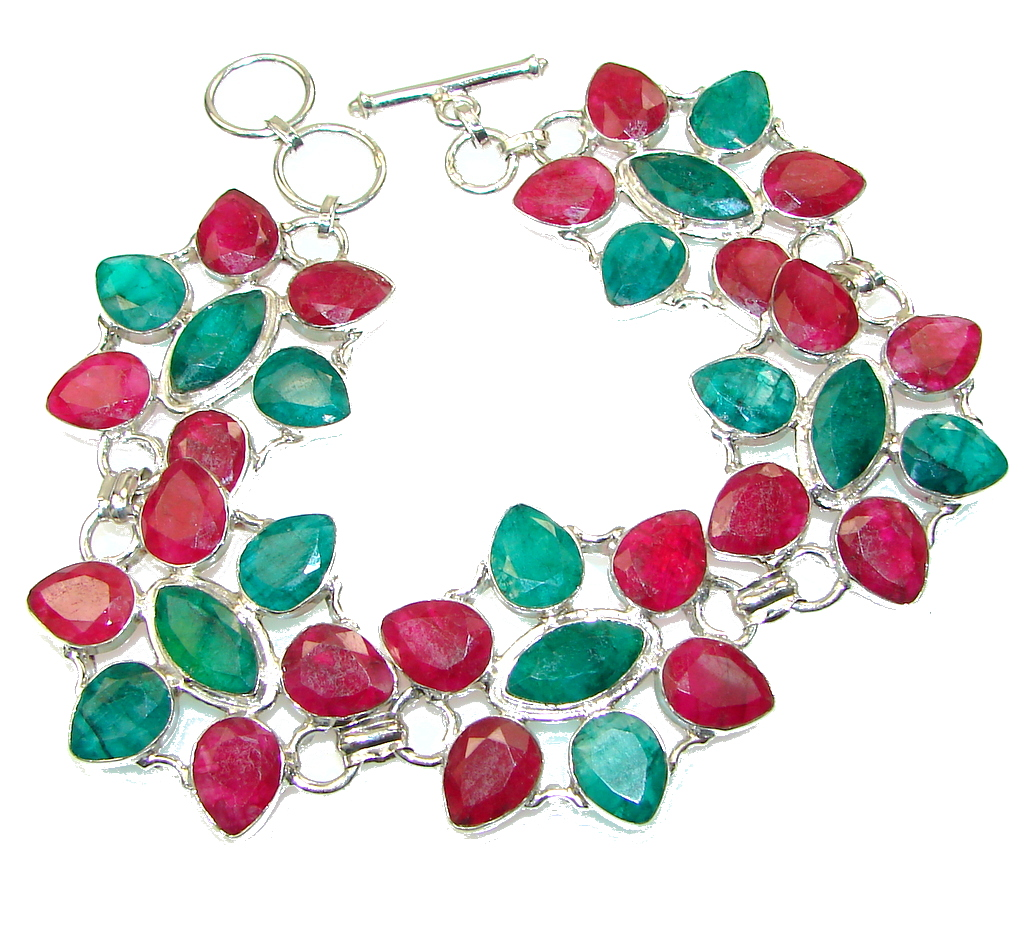 Natural Beauty! Emerald Ruby Sterling Silver Bracelet
