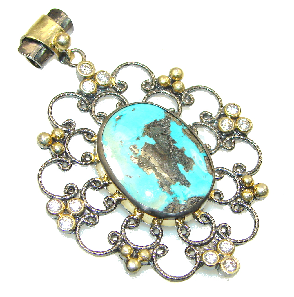 Victorian Style Carico Lake Copper Turquoise Sterling Silver Pendant
