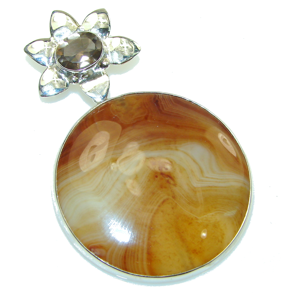 Brown Planet Carnelian Sterling Silver Pendant