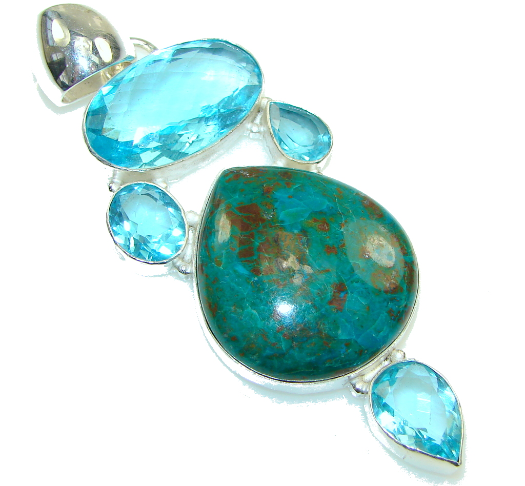 Blue Lagon! Blue Chrysocolla created Quartz Sterling Silver Pendant