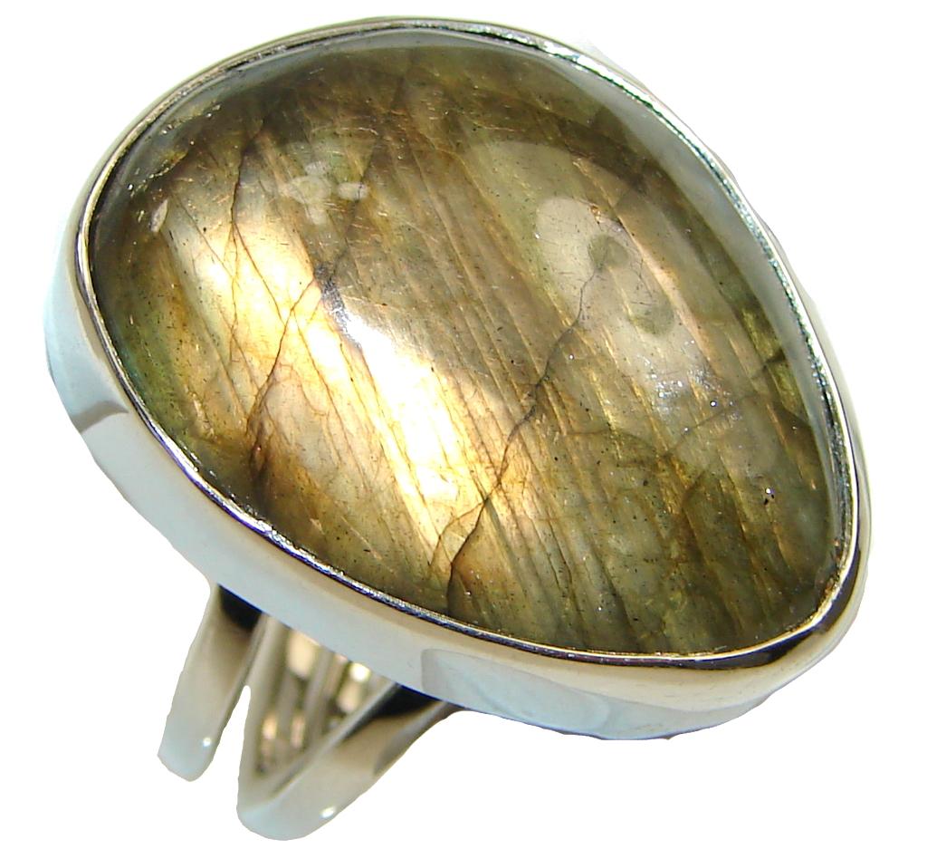 Shimmering AAA Labradorite Sterling Silver Ring s. 6 3/4 adjustable