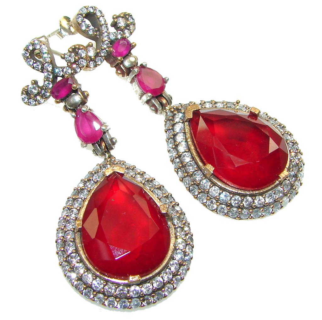Big! Victorian Style Red Garnet Quartz Sterling Silver earrings