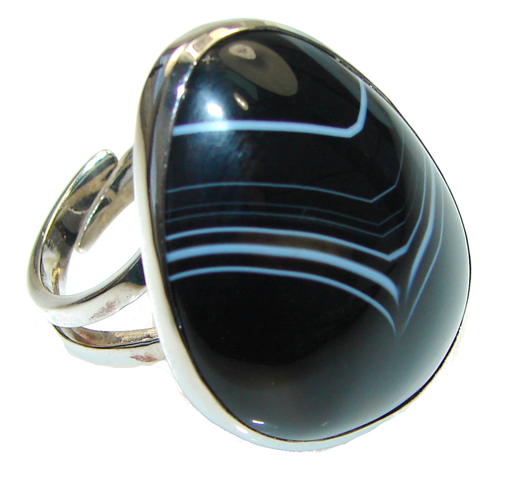 Excellent Black Botswana Agate Sterling Silver Ring s. 8 adjustable