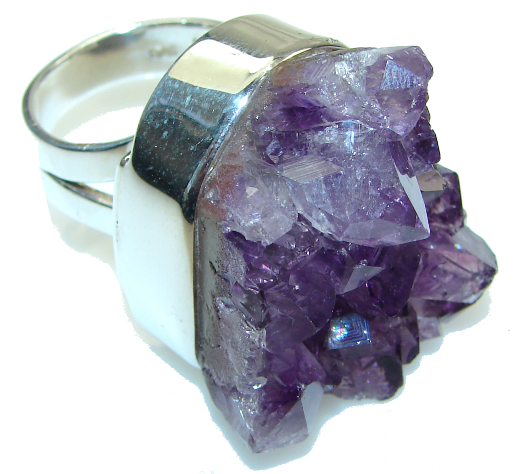 Huge! Solid Amethyst Cluster Sterling Silver Ring s. 7