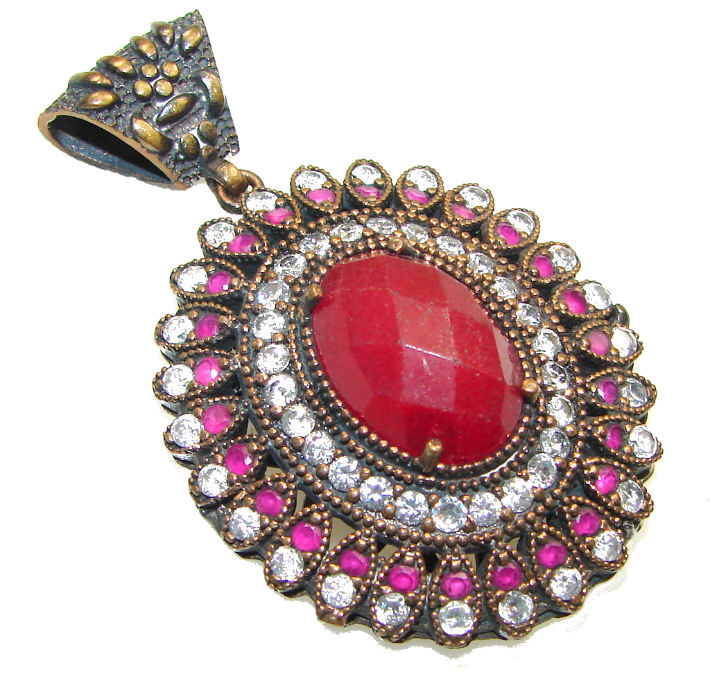 Big! Victorain Style! Red Ruby Sterling Silver Pendant