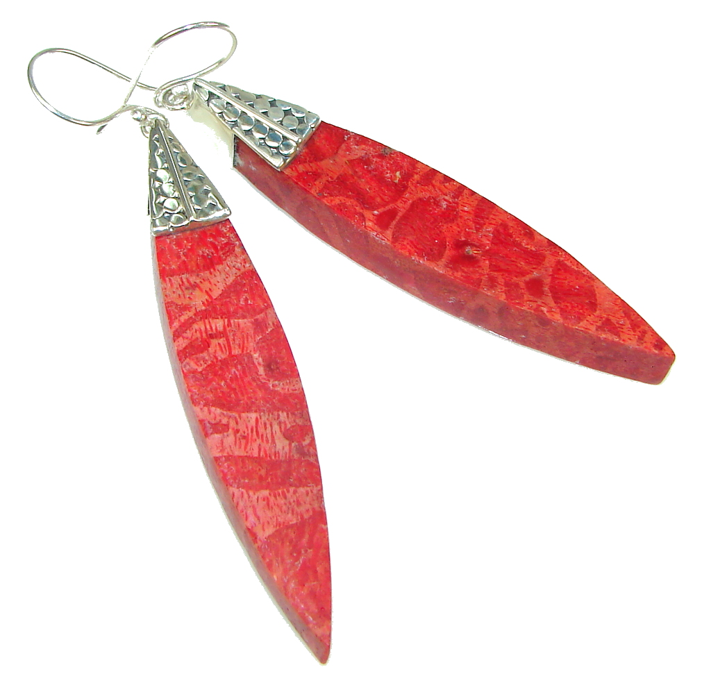 Large!! Red Fossilized Coral Sterling Silver earrings / Long