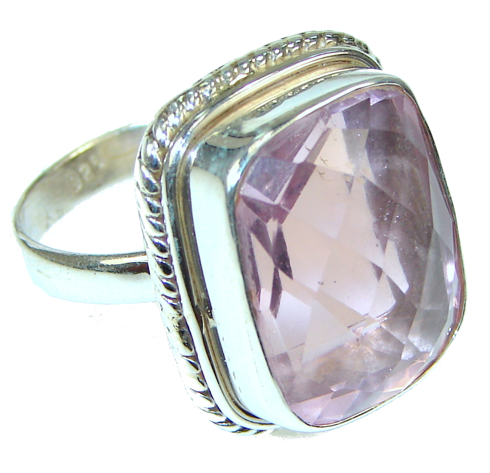 Amazing!! Light Pink Roses Topaz Sterling Silver ring; size 10