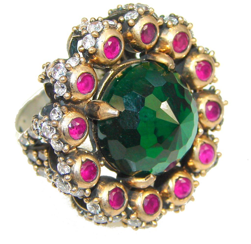 Victorian Style! Green Quartz, Ruby Sterling Silver Ring s. 8 1/2