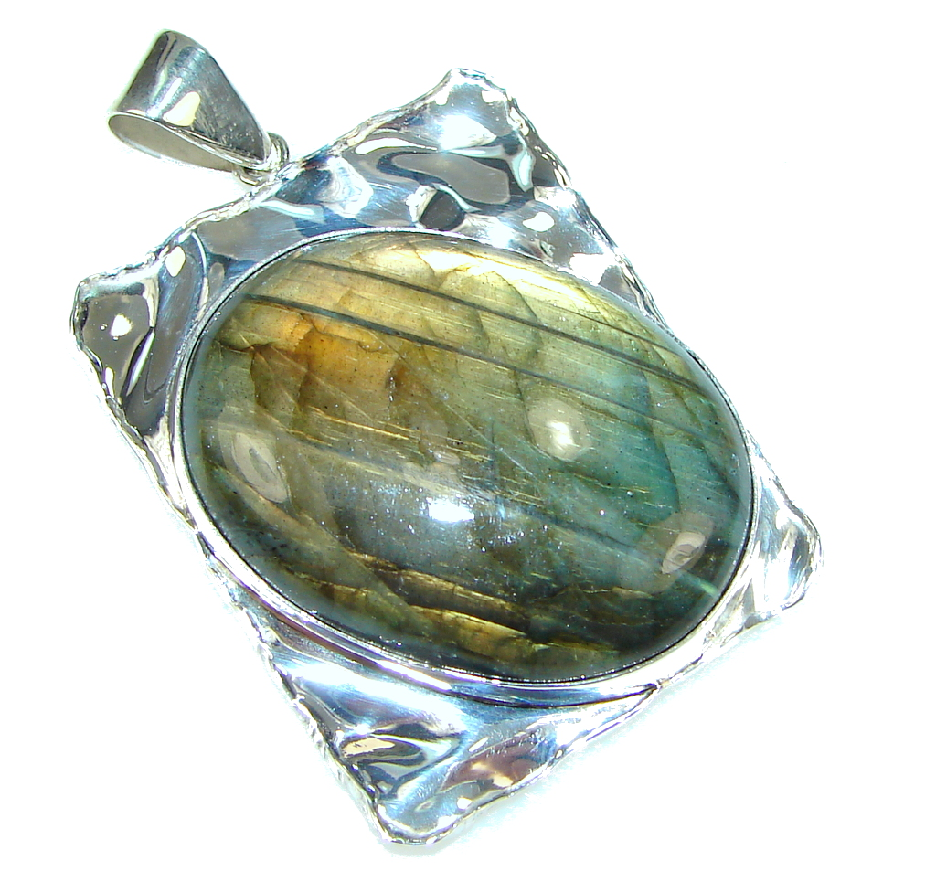Exclusive Labradorite Hammered Sterling Silver Pendant
